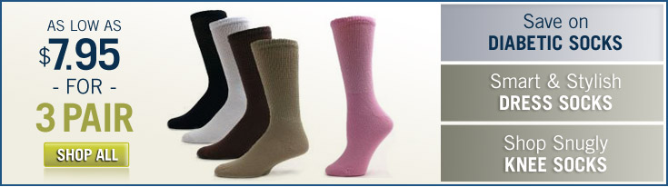 Save on Diabetic Socks: As low as $7.95 for 3 Pair