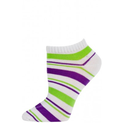 Chatties Women's Bright Stripe Low Cut Socks - 1 Pair - White/Purple Green