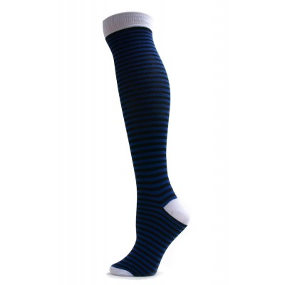 Yelete Mini Stripe Knee Socks - 1 Pair - Blue/Black