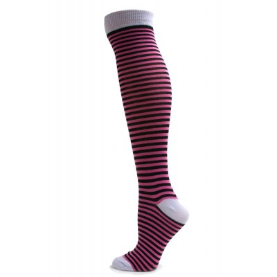 Yelete Mini Stripe Knee Socks - 1 Pair - Pink/Black