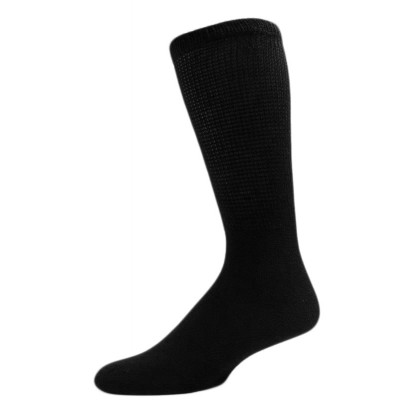 Sole Pleasers Men's Black Diabetic Over the Calf Socks - 3 Pairs