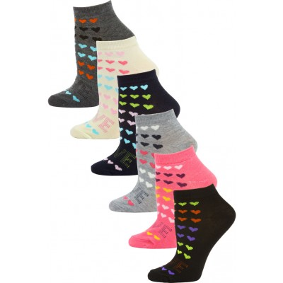 Mamia Mini Hearts Low Cut Socks - 6 Pairs
