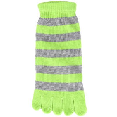 Funny Feet Bright Stripe Toe Socks - 1 Pair - Lime Green/Grey