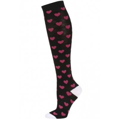 Julietta Women's Heart Print Knee Socks - 1 Pair - Black/Pink