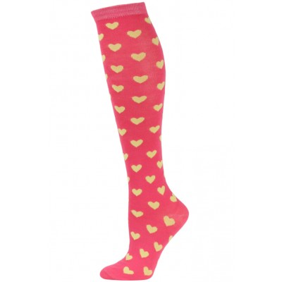Julietta Women's Heart Print Knee Socks - 1 Pair - Coral Pink/Yellow