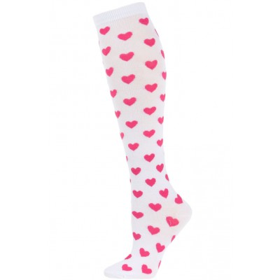 Julietta Women's Heart Print Knee Socks - 1 Pair - White/Pink