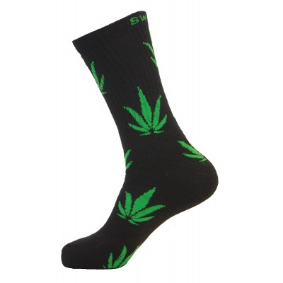 Unisex Crew Classic Weed Socks Black with Green - 2 pairs