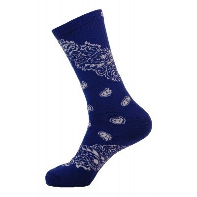 Unisex Crew Swag Long Leaf Socks Blue with White