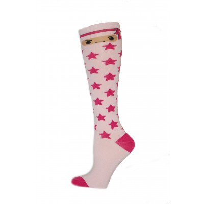 Yelete Ninja Star Knee Socks - 1 Pair - Light Pink