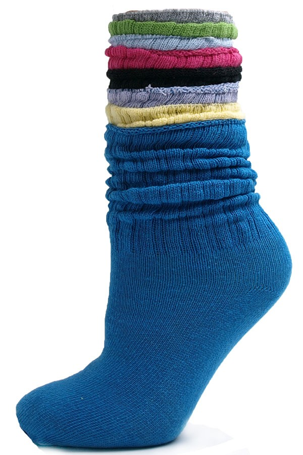 Our slouch socks are great for working out or just relaxing around the house. You can pull them up or push them down and let them slouch.