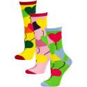 Yelete Women's Balloon Hearts Crew Socks - 3 Pairs - Green/Pink/Yellow Multi