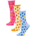 Yelete Women's Lightning Bolt Crew Socks - 3 Pairs - Blue/Orange/Pink Multi