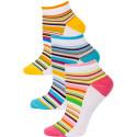 Yelete Pastel Stripe Low Cut Socks - 3 Pairs - Pink. Blue, Orange Multi