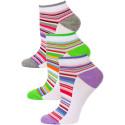 Yelete Pastel Stripe Low Cut Socks - 3 Pairs - Purple, Green, Grey Multi