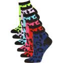 Mamia Neon Cheetah Low Cut Kids Socks - 6 Pairs - Neon Cheetah Multi