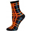 Mad About Plaid Neon Crew Socks - 1 Pair - Black/Orange Plaid