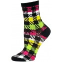 Mad About Plaid Neon Crew Socks - 1 Pair - Black/White/Green/Pink Checker Plaid
