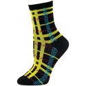 Mad About Plaid Neon Crew Socks - 1 Pair - Black/Yellow Plaid