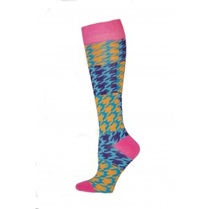 Yelete Hearts And Spots Knee Socks - 1 Pair - Navy and Yellow