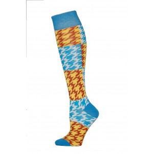 Yelete Hearts And Spots Knee Socks - 1 Pair - Blue and Brown