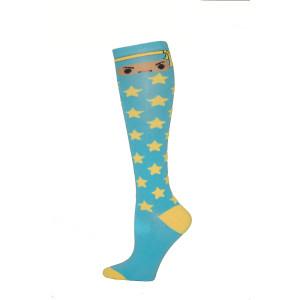 Yelete Ninja Star Knee Socks - 1 Pair - Light Blue