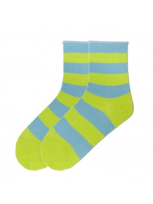 K. Bell Women's Rugby Striped Relaxed Top Crew Socks - Lime
