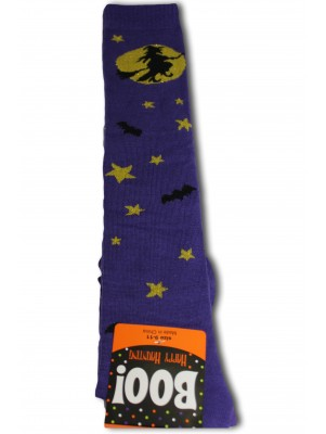 Happy Halloween Women's Knee Socks - 1 Pair - Purple - Night Witch