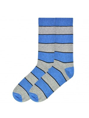 K. Bell Men's Recycled Cotton Stripe Crew Socks - Blue