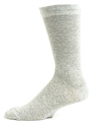 Fine Fit Men's Grey Crew Dress Socks - 3 Pair - Heathered Grey