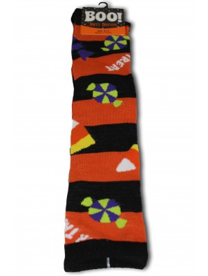 Happy Halloween Women's Knee Socks - 1 Pair - Orange - Halloween Candy Striped
