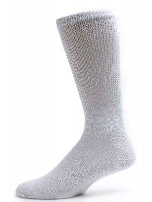 Sole Pleasers Men's White King Size Diabetic Crew Socks - 3 Pairs