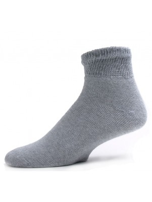 Sole Pleasers Men's Gray Diabetic Quarter Socks - 3 Pairs