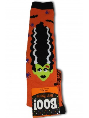 Happy Halloween Women's Knee Socks - 1 Pair - Orange - Lady Frankenstein