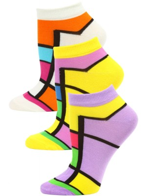 Jaze Women's Bright Geometric Low Cut Socks - 3 Pairs - Purple/Yellow/White