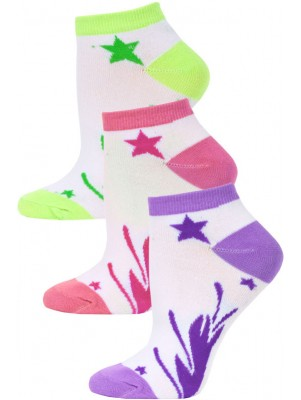 Jaze Shooting Stars Low Cut Socks - 3 Pairs - Purple/Pink/Lime Green