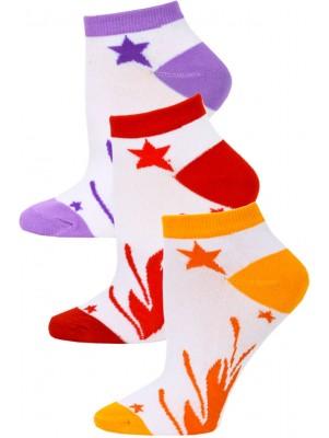 Jaze Shooting Stars Low Cut Socks - 3 Pairs - Orange/Red/Purple