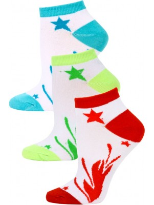 Jaze Shooting Stars Low Cut Socks - 3 Pairs - Red/Lime Green/Blue