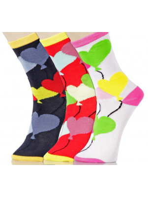 Yelete Women's Balloon Hearts Crew Socks - 3 Pairs - Navy Blue/Red/White Multi