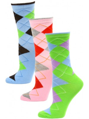 Yelete Women's Bright Argyle Crew Socks - 3 Pairs - Green/Grey/Blue