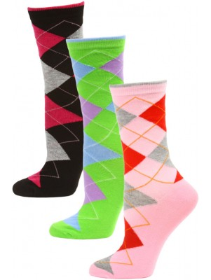 Yelete Women's Bright Argyle Crew Socks - 3 Pairs - Pink/Green/Black