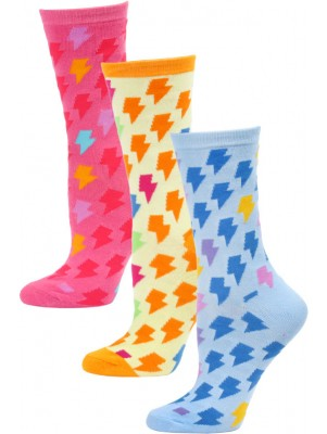 Yelete Women's Lightning Bolt Crew Socks - 3 Pairs - Blue/Orange/Pink Multi