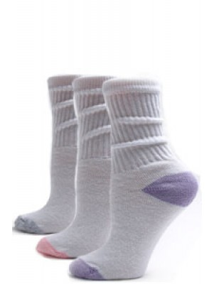 American Made Women's Pastel Heel and Toe Crew Socks - 3 Pairs - Pink, Gray, Purple
