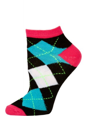 Chatties Women's Neon Argyle Low Cut Socks - 1 Pair - Pink/Black Large Argyle