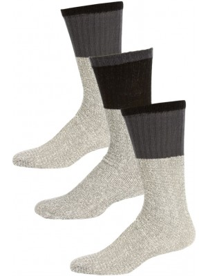 Thermalsport Men's Cotton Thermal Socks - 3 Pairs - Grey, Black, Grey