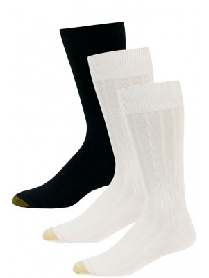 Jaze Men's Ribbed Dress Socks - 3 Pairs - Black, Ivory, Ivory
