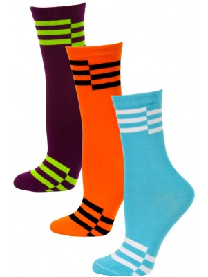 Yelete Neon Retro Stripe Crew Socks - 3 Pairs - Aqua Blue, Orange, Purple