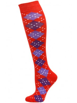 Yelete Argyle Knee Socks - 1 Pair - Red/Purple