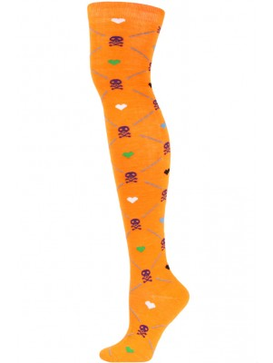 Yelete Argyle Skulls Over the Knee Socks - 1 Pair - Orange Multi