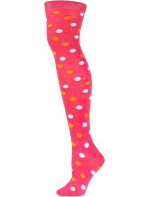 Yelete Polka Dot Over the Knee Socks - 1 Pair - Hot Pink with OrangeWhite Dots