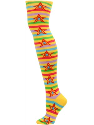 Yelete Stripes and Stars Over the Knee Socks - 1 Pair - Yellow/Pink Multi